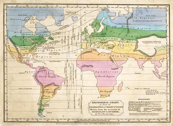 תפיסה חלוצית של הטבע כולו כאורגניזם שלם. מפת אזורי האקלים של הומבולדט | Science Photo Library