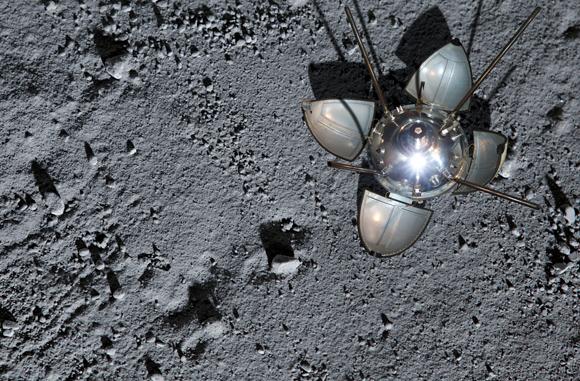 נחיתה רכה ראשונה על הירח. הדמיה של החללית לונה 9 על פני הירח | מקור: Science Photo Library