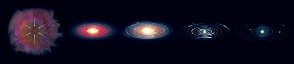 שלבים בהיווצרות מערכת השמש (משמאל לימין) | איור: CLAUS LUNAU / SCIENCE PHOTO LIBRARY