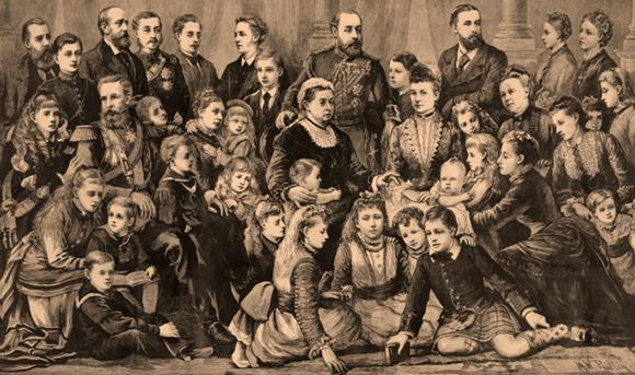 מלכת בריטניה ויקטוריה בשנות ה-70 של המאה ה-19 עם תשעת ילדיה, ששה חתנים וכלות ו-23 נכדיה | מקור: Science Photo Library