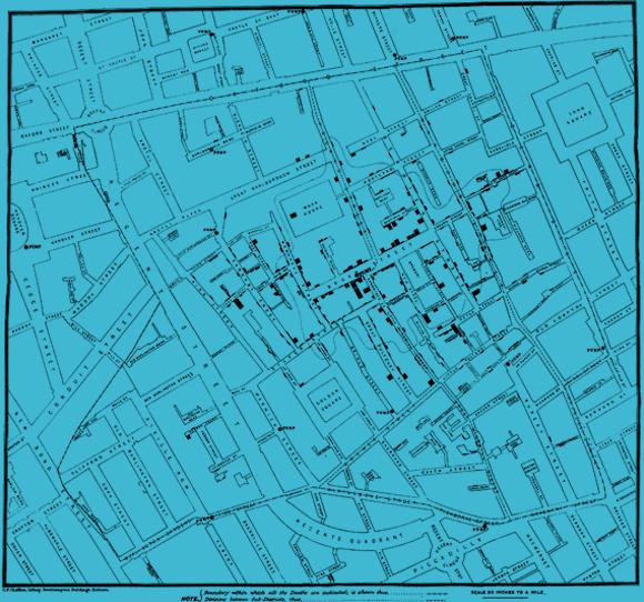 המפה שיצר ג'ון סנואו, ובה סימן באלו בתים היו מתים | US NATIONAL LIBRARY OF MEDICINE / SCIENCE PHOTO LIBRARY
