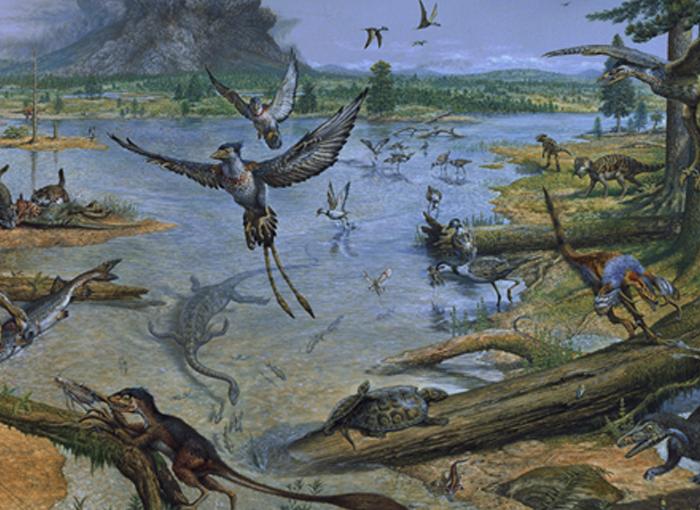כך נראה בעיני אמן עולם החי באזור צפון-מזרח סין של ימינו לפני יותר מ-100 מיליון שנים | מקור: John Sibbick / Science Photo Library