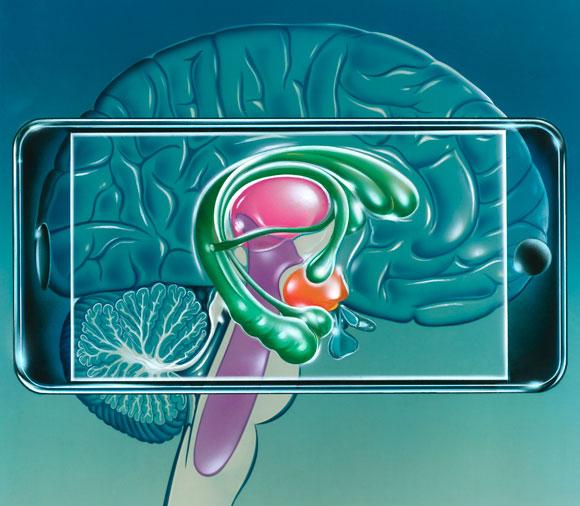 אילוסטרציה של טלפון חכם על מוח אנושי | Science Photo Library