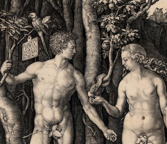 חווה והנחש עם פרי העץ האסור | ציור: אלברכט דירר, 1504, SPL, Library of Congress