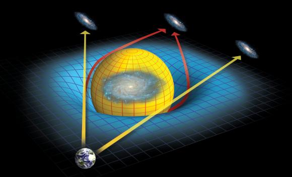 יישום של היחסות הכללית: תופעת העידוש הכבידתי מאפשרת להשתמש בעיקום האור לתצפיות אסטרונומיות | איור: Science Photo Library