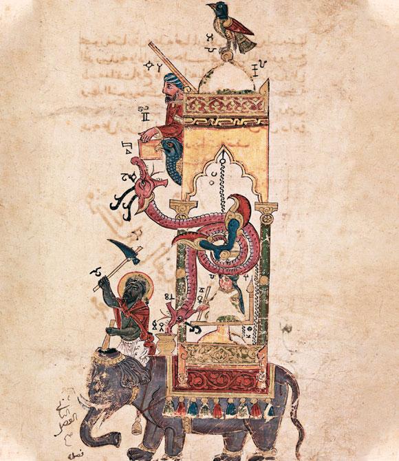 נחשב ליצירה המפורסמת ביותר של אל ג'זארי. שעון הפיל, עותק מ-1315, סוריה. מקור: Science Photo Library