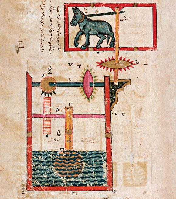 פיתוח שהיה שווה שלושה פטנטים לפחות. משאבת גלגל המים, עותק מ-1315, סוריה. מקור: Science Photo Library