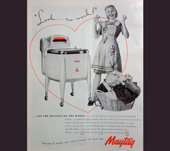 An advertisement for a household washing machine from 1946 | Origin: The Print Collector / Heritage Images / Science Photo Library