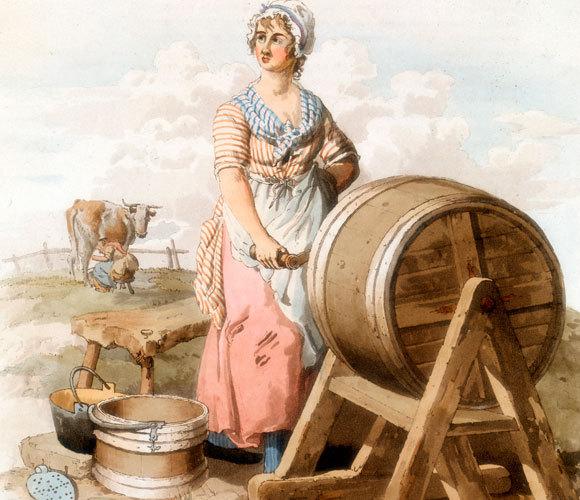 אישה מכינה חמאה, ציור של ויליאם הנרי פיין, 1808 | Oxford Science Archive, Heritage Images, SPL