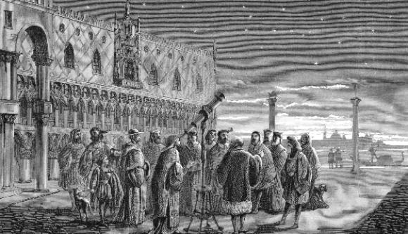 פיתח את מכשירי התצפית המשוכללים ביותר של זמנו. גלילאו מדגים את הטלסקופ שלו בוונציה | מקור: Science Photo Library