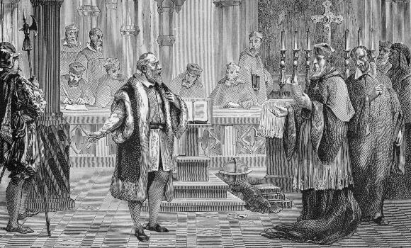 למזלו לא נדון למוות. משפטו של גלילאו בפני הכנסייה, תחריט של לואי פיגייה מ-1870 | מקור: Science Photo Library