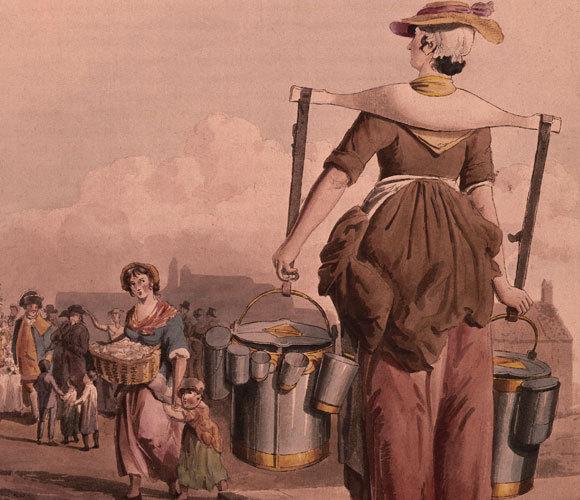 מוכרת חלב בלונדון, ציור של ויליאם הנרי פיין מ-1808 | Museum of London, Heritage Images, SPL