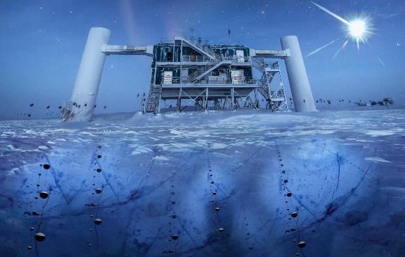 איור של גלאי הנייטרינו  IceCube באנטארקטיקה | מקור: ICECUBE / NATIONAL SCIENCE FOUNDATION / SCIENCE PHOTO LIBRARY