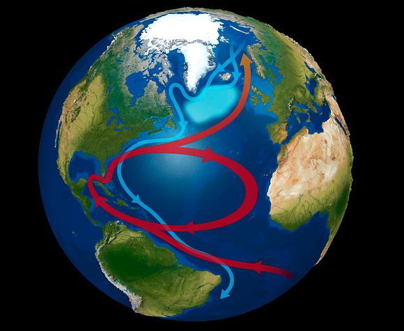 מסלול זרם הגולף וה-warming hole באוקיינוס האטלנטי. קרדיט:  MIKKEL JUUL JENSEN / SCIENCE PHOTO LIBRARY