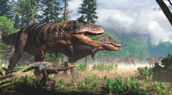 טירנוזאורוס רקס צעיר ומנוצה ושני הוריו הענקיים, מקור: spl
