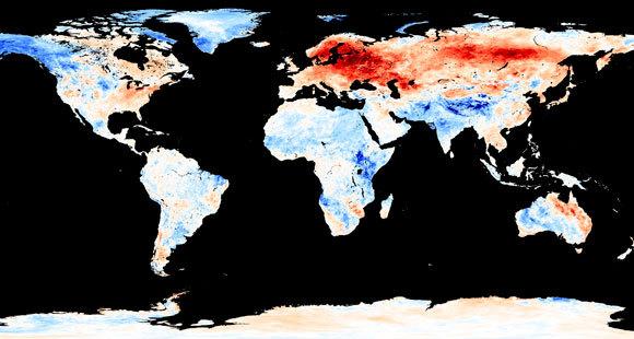 הטמפרטורות בינואר 2019, בתמונת לוויין | NASA Earth Observatory / Science Photo Library