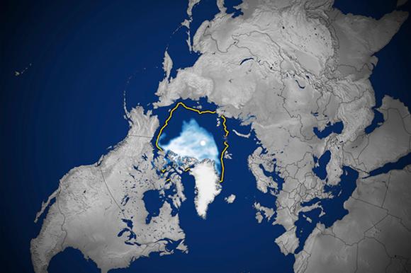 צילום לוויין של הקרח הארקטי בנקודת המינימום שלו ב-2020, עם סימון, בקו צהוב, של שטח המינימום החציוני בשנים 1981 עד 2010 | NASA, NSIDC, Science Photo Library