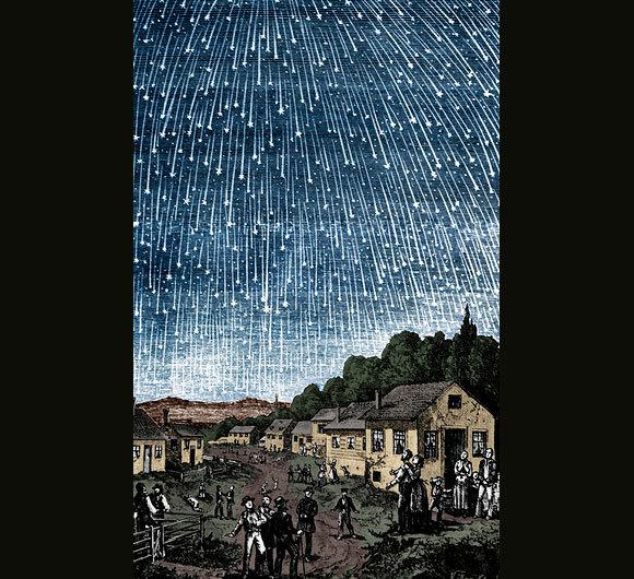מטר הלאונידים של 1833 נצפה בערים החשוכות בדרום ארצות הברית תגליף של אדולף וולימי | מקור: ויקיפדיה, נחלת הכלל