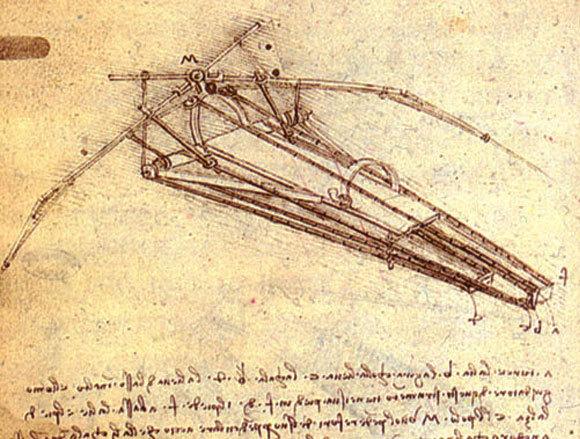 סקיצה של מכונת תעופה, לאונרדו דה וינצ׳י | מקור: ויקיפדיה