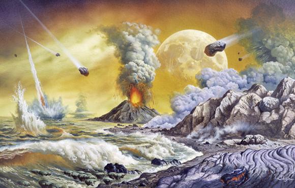 אסטרואידים מתנגשים בכדור הארץ הצעיר | איור: CHRISTIAN JEGOU PUBLIPHOTO DIFFUSION / SCIENCE PHOTO LIBRARY