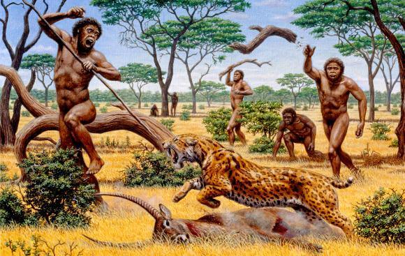 אדם קדמון מהמין Homo ergaster בשעת ציד | איור: MAURICIO ANTON / SCIENCE PHOTO LIBRARY
