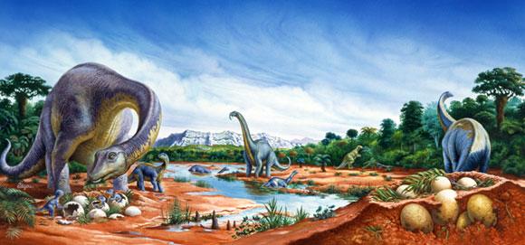 קבוצת טיטנוזאורים עם ביצים | איור: SPL, Christian Jegou Publiphoto Diffusion