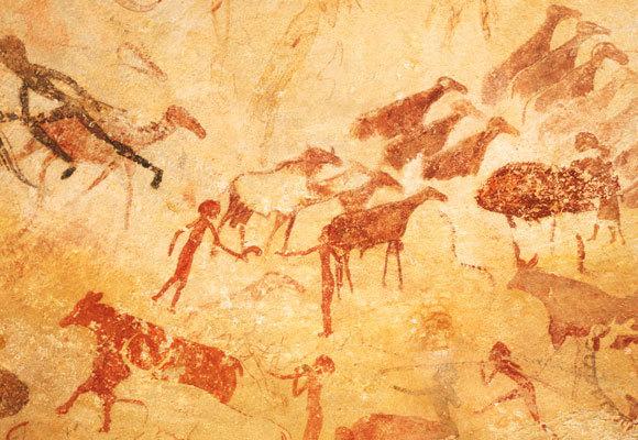 ציורי מערות מראים אנשים ללא זקן. ציור מערות מאלג'יריה | George Holton, SPL