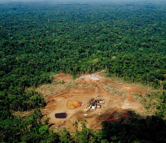 כריתת עצים באגן האמזונס כדי לפנות מקום למפעל נפט   Peter Bowater, Science Photo Library