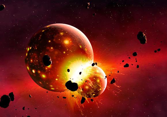 נראה שהתנגשות אחת, או סדרת התנגשויות, בכדור הארץ הקדום, הובילו גם להיווצרות הירח | איור: Science Photo Library
