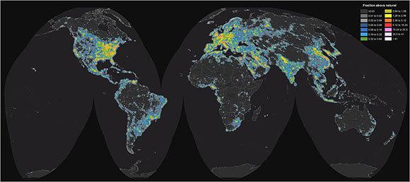 מפת זיהום האור בעולם | מקור: אטלס הבהירות של שמי הלילה
