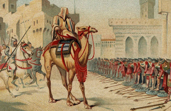 Der Kalif Umar erobert Jerusalem im Jahr 638. Gemälde, 1905. Unbekannter Maler. Quelle: Wikipedia