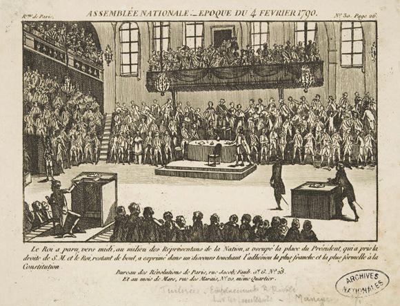 הכל התחיל מסידור מקומות הישיבה. האסיפה הלאומית של צרפת, פברואר 1790 | מקור: ויקיפדיה, נחלת הכלל