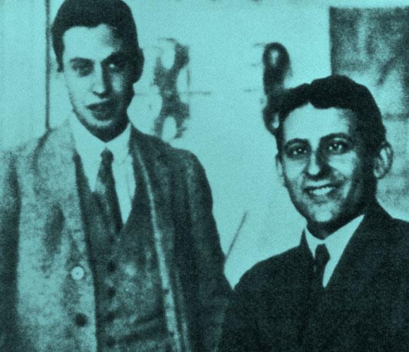 לילה מדעי פורה במיוחד. חאודסמיט (מימין) ואולנבק ב-1926 | מקור: SCIENCE PHOTO LIBRARY