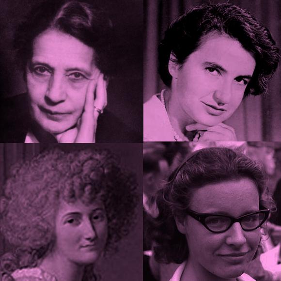 מימין למעלה, בכיוון השעון: רוזלינד פרנקלין, ג'וסלין בל-ברנל, מארי-אן פולז וליזה מייטנר | מקורות: ויקיפדיה, Science Photo Library