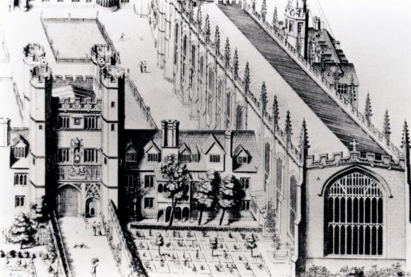 החדרים שבהם עבר ניוטון בטריניטי קולג' היו בקומה הראשונה, בין השער מימין לכנסייה משמאל | מקור: SCIENCE PHOTO LIBRARY