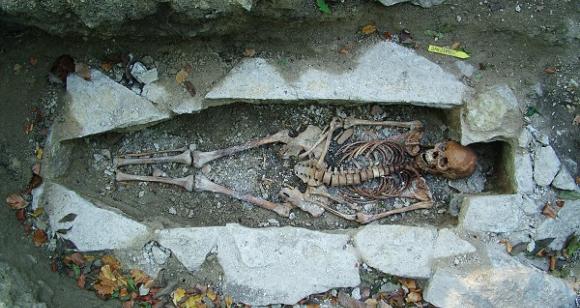 שלד של אשה שנטמנה בקבורה ויקינגית בעיר השוודית ורנהם | צילום: Västergötlands museum
