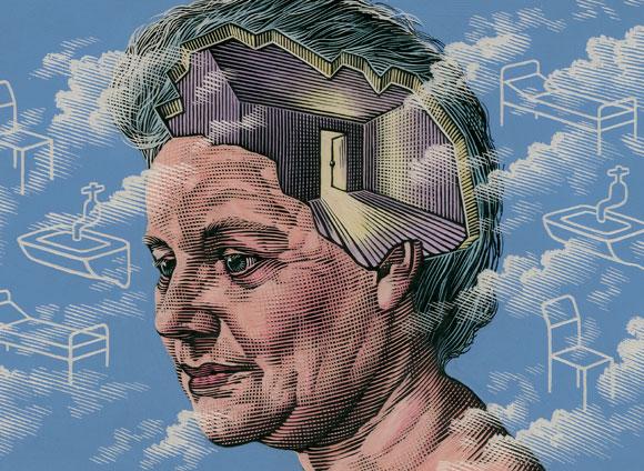 מוחה של אישה זקנה כבית ריק ופרוץ, איור