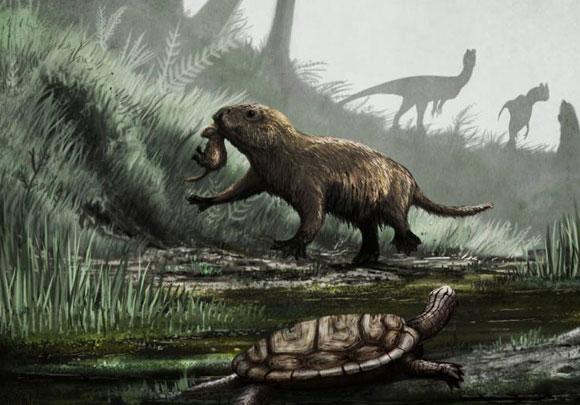 מאפלה לאור גדול. יונק Kayentatherium עם גור, מתפקד באור יום כשברקע דילופוזאורים | איור:  Mark Witton, UCL
