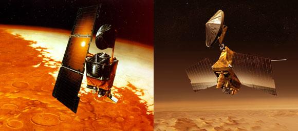 זו שאבדה וזו שעבדה. Mars Reconnaissance Orbiter (מימין) הפועלת עד היום ו-Mars Climate Orbiter | הדמיות: NASA