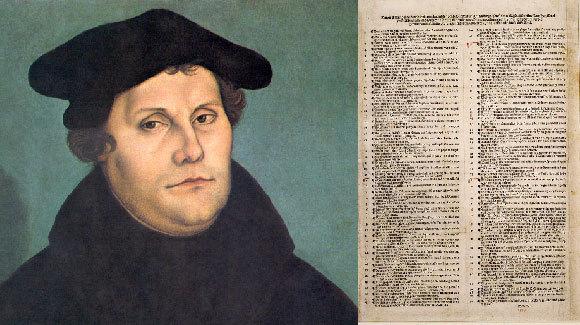 מרטין לותר לצד מסמך מודפס של 95 התזות | ויקיפדיה, צייר: Lucas Cranach the Elder