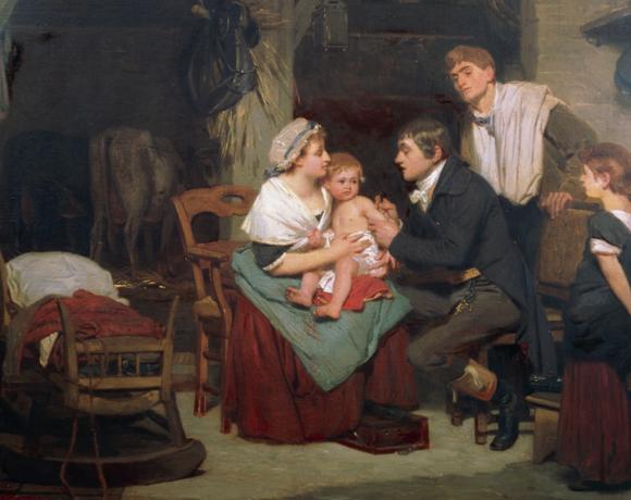 רופא מחסן תינוק במאה ה-19 | מקור: JEAN-LOUP CHARMET / SCIENCE PHOTO LIBRARY