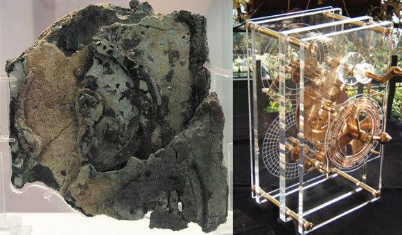 משמאל: חלק ממנגנון אנטיקיתרה המקורי; מימין: שחזור המנגנון | מקורות: Mogi Vicentini, ויקיפדיה, המוזיאון הארכיאולוגי הלאומי של יוון, אתונה
