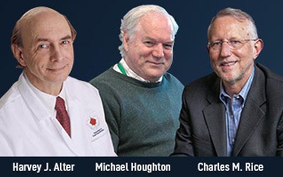 חתני פרס נובל לרפואה לשנת 2020. משמאל לימין: הרווי אלטר, מייקל הוטון וצ'רלס רייס | מקור: אתר פרס נובל
