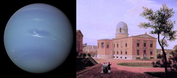 מצפה הכוכבים בברלין במאה ה-19 וכוכב הלכת נפטון בצילום של החללית וויאג'ר | מקורות: ויקיפדיה (נחלת הכלל), NASA