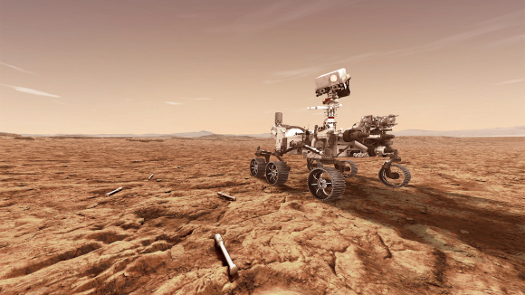 הדמיה של פרסבירנס עם מכלים לאיסוף דגימות קרקע המיועדות להגיע לכדור הארץ | איור: NASA/JPL-Caltech