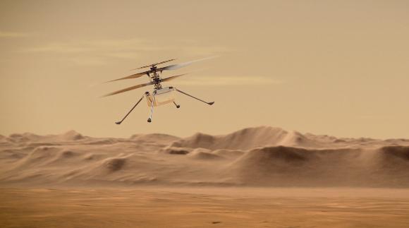 יבצע את הטיסה הראשונה אי פעם בשמי כוכב לכת אחר. הדמיה של הרחפן אינג'ניואיטי | איור: NASA/JPL-Caltech