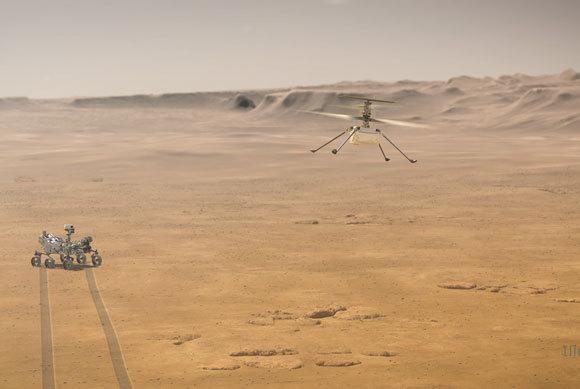 הרחפן והרובר Perseverance בעין אמן | איור: NASA/JPL-Caltech