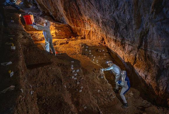 חוקרים מעלים דגימות משכבות הקרקע התחתונות במערת צ'יקיוויטה. צילום: Devlin A. Gandy, University of Cambridge