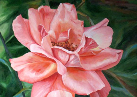 חלק מציור בצבעי אקריליק של ורד, צייר: אסף שלמון | ויקיפדיה, אסף שלמון