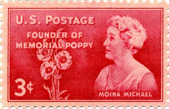 בול אמריקאי הנושא את דיוקנה של מויינה מייקל ותמונה של פרחי פרג | U.S. Post Office Department